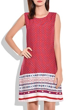Red And White Print Shift Dress - By