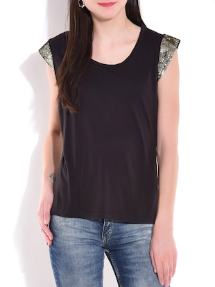 black with silver viscose jersey cap sleeved top