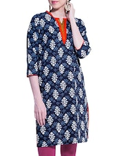Indigo Printed Kurta With Three-quarter Sleeved Orange Neckline - ZOVI