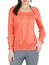 Coral Pleated Frill Round Neck Full Sleeved Top - ZOVI