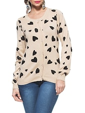 Beige Round Neck Full Sleeved Cardigan With Black Hearts - ZOVI