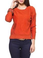 Rust Jali Round Neck Full Sleeved Sweater - ZOVI