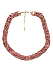 Pink And Gold Beaded Chunky Necklace - By
