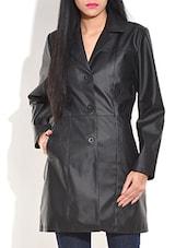 Black Leatherette Long Winter Coat - By