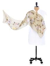 Brown Floral Printed Dupatta In Silk - RANGAT