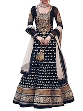 Georgette And Santoon Silk Dress Material - By