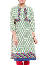 White And Green Leaf Printed Cotton Kurta - By