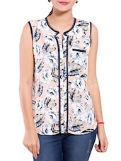 Blush Pink Floral Printed Sleeveless Georgette Top - By