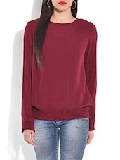 Burgundy Smocking Detailed Long Sleeved Top - By