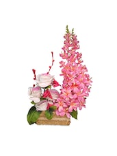 Pink Artificial Orchids And Roses With Vase - By