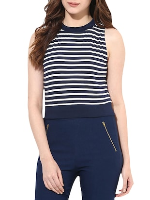 navy blue striped cotton jersey crop top