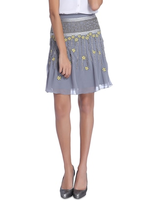 grey embroidered and beaded georgette flared skirt