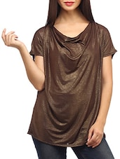 Shimmer Brown Loose Fitted Viscose Top - SUHI