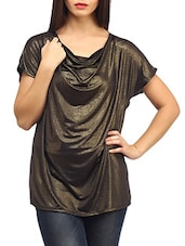 Shimmer Brown Loose Fitted Viscose Top - SUHI - 970507