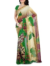 Multicolored Floral Printed Faux Georgette Saree - By
