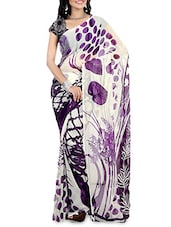 Off White Printed Faux Georgette Saree - By