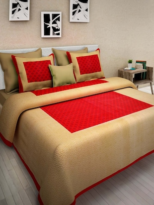 Pure Cotton Jaipuri  Double Bed Sheet With 2 Pillow Cover