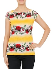 Yellow Floral Print Cotton Knit Top - By