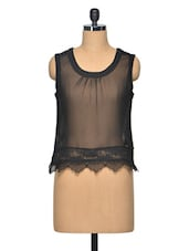 Black Sheer Colour Polyester Top - LA ARISTA