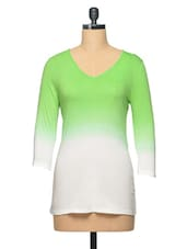 Green Ombre V Neck Colour Cotton Top - LA ARISTA