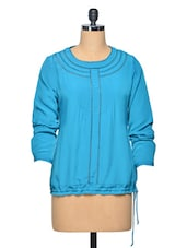 TurquoiseSheer Embroidered  Polyester Top - LA ARISTA