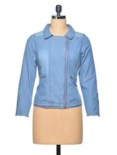 Steel Blue Asymetrical Shirt Collar Polyester Top - LA ARISTA