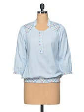 Blue Embroidered Cotton Top - LA ARISTA