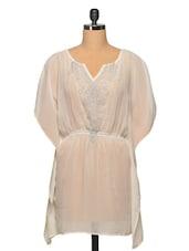 Off White Embroidered Colour Polyester Dress - LA ARISTA