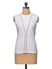 White Lace Panelled Cotton Top - LA ARISTA