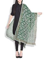 Dark Green Embroidered Phulkari Chanderi Silk Dupatta - By