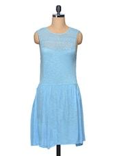 Blue Lace Yoke Viscose Dress - LA ARISTA