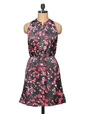 Black & Pink Colour Floral Printed Polyester Dress - LA ARISTA