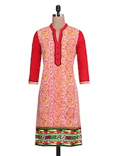 White And Red Cotton Printed Kurta - By
