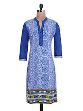 Blue And White Cotton Printed Kurta - By