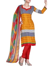 Multi Color Crepe Printed Unstitched Suit Set - By