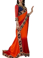 Red & Orange Crepe Georgette Embroidered Saree - By