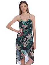 Multicolored Floral And Foliage Printed Strappy Dress - By