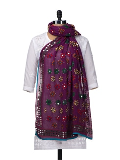 Beautiful Purple Phulkari Dupatta - Vayana