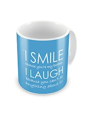 Blue Printed Ceramic Mug, 300 ml -  online shopping for Mugs