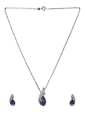 Crystal Studded Metal Alloy Necklace Set - Swanvi