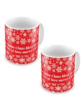 Red Printed Ceramic Coffee Mugs (Set Of 2) - By