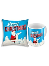 Blue Printed Coffee Mug And Cushion Set - By