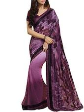 Purple Poly Crepe Chiffon  Printed Saree - By