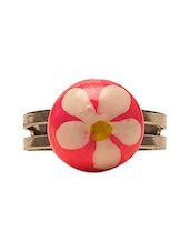 Baby Pink Round Bead With Floral Motif Ring - Swanvi