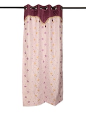 Purple & White Embroidered Sheer Eyelet Curtain With Lining - Cortina