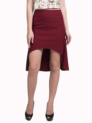 Red Solid  Fit and flare Mini Skirt
