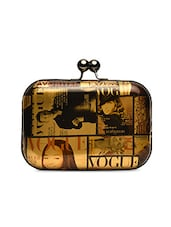 Multicolored Magazine Theme Faux Leather Clutch Sling Bag - By