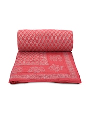 Coral Printed Cotton Reversible Double Bed Quilt - By