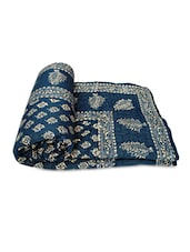 Blue Block Printed Cotton Double Bed Quilt - By
