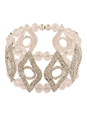 White Beads And Stone Embellished Cuff - By